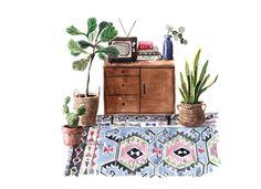 original watercolor painting, kilim painting, plant illustration, houseplants, aquarelle painting, wall decor door marleenart op Etsy