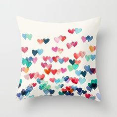 Heart Connections – watercolor painting throw pillow by Micklyn