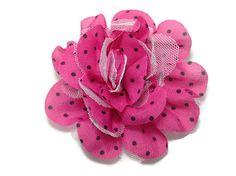 Large hot pink and black polka dot chiffon hair bow