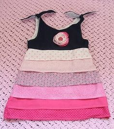 girls dress with on the bias cut strips no hemming!