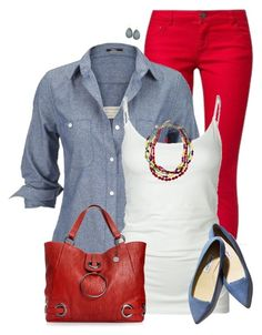 """Bright Red Pants"" by daiscat ❤ liked on Polyvore featuring Silver Jeans Co., Tresics, Big Buddha, Vanity Her and Pieces"