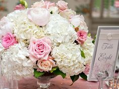 hydrangeas, roses, peonies low centerpiece, love the combo - needs more color