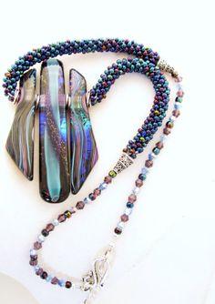 Pendant necklace beaded kumihimo David Christensen furnace glass blue - NOT A TUTORIAL, JUST AN IDEA