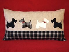 """Pillow 12""""x 22"""" ( 30x55 cm) . Scottish Terrier Dogs. Applique fabric, 100% linen, cotton,rayon, wool. Black and white. Red hearts buttons."""