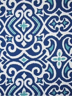 """New Damask Marine"" of Tribal Luxury from Robert Allen Fabric 100% cotton - $16.95/yard."