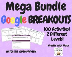 Wrestle with Math Breakout Mega Bundle - 100 Breakouts! Adding Fractions, Dividing Fractions, Math Classroom, Google Classroom, Teaching Math, Teaching Ideas, Absolute Value, Rational Numbers, Solving Equations