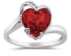 ApplesofGold.com - Heart-Shaped Garnet and Diamond Ring, 14K White Gold Gemstone Jewelry $389.00