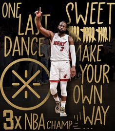 Image may contain: 2 people, people standing and text Basketball Motivation, Basketball Quotes, Sports Basketball, Miami Heat Basketball, Rapper Art, Dwyane Wade, Sports Graphics, Nba Stars, Nba Players