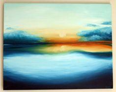 "Original Oil Sunset Sunrise Painting // ""Awakening"" 16x20"" Canvas on Etsy, $70.80"