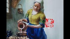 최병화수채화-명화그리기-베르메르- Let's draw a masterpiece (the milkmaid painted by Joh...