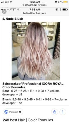 Toner Für Blondes Haar, Igora Hair Color, Blonde To Pink Ombre, Charcoal Hair, Hair Color Formulas, Hair Toner, Hair Shades, Hair Flip, Hair Skin Nails