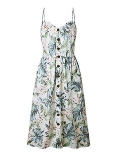 $17.99 XL OCHENAT #12 Leaves Women's Floral Spaghetti Strap Button Front Boho Midi Dress with Pockets Color #12 Leaves L at Amazon Women's Clothing store 40 LONG