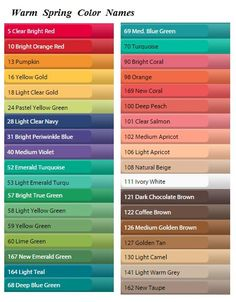 True Spring color names Bright Spring, Clear Spring, Warm Spring, Warm Autumn, Spring Color Palette, Spring Colors, Color Palettes, Color Type, Seasonal Color Analysis