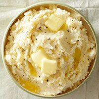 Slow cooker Rustic Garlic Mashed Potatoes -- helps you free up your stove top during holiday cooking!