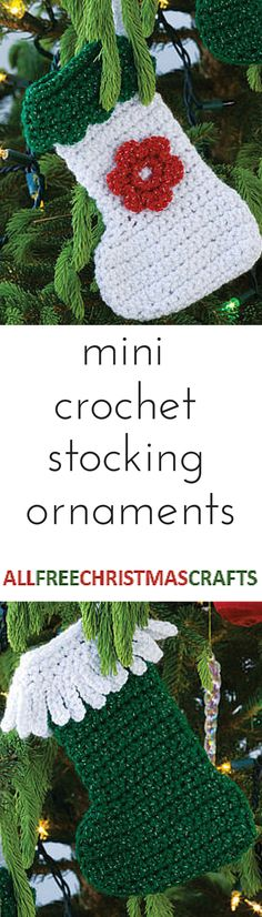 Mini stockings! So precious. Free crochet ornament pattern.