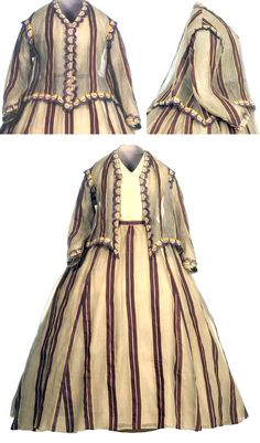 Summer dress, two pieces, Andalusian, ca. 1860-68. Yellow, purple, & gray striped silk gauze with applications of passementerie and mechanical lace. Loose blouse with V-neckline. Skirt gathered at waist; very finely pleated train. Museo del Traje, Madrid