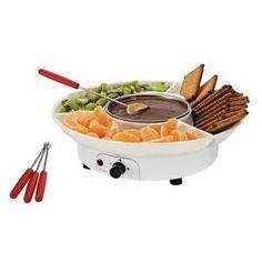 Set de fondue à chocolat électrique avec 3 compartiments, fonction chauffe et maintien à chaud du chocolat, livré avec 4 pics Dimension produit : Ø 27,3 x 7,5 cm<br>Poids b...Voir la présentation