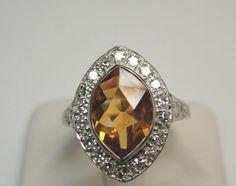 Antique Citrine Diamond Engagement Ring Solitaire Platinum Art Deco Vintage Fine #Engagement