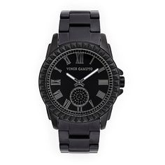 Vince Camuto Black Ceramic Link Watch (350 CAD) ❤ liked on Polyvore featuring jewelry, watches, accessories, bracelets, black jewelry, swarovski crystal watches, buckle watches, black wrist watch and bezel watches