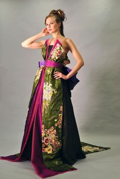 Rinka wedding dress made of kimonos by Aliansa. Metallic green and rich jewel tones of magenta and purple.  Breathtaking!