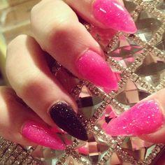 Pink and black glitter stiletto nails