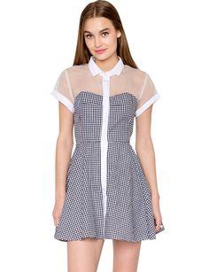 Splicing small square collar a-line dress