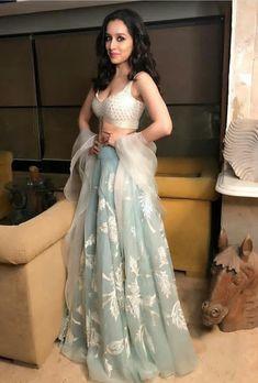 Shraddha Kapoor In Gray Designer Lehenga Choli Indian Bridal Outfits, Indian Designer Outfits, Designer Dresses, Lehnga Dress, Lengha Choli, Indian Lehenga, Blue Lehenga, Lehenga Style, Indian Gowns Dresses