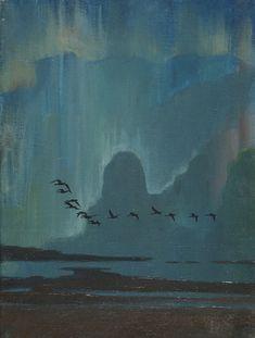 "fletchingarrows: "" wasbella102: "" Sir Peter Markham Scott - Flying Geese Against the Aurora "" serafina pekkala vibes """