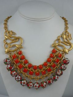 Askew London Entwined Snakes Chain and Bead Necklace