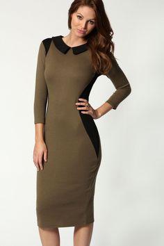 Joanne 3/4 Sleeve Illusion Midi Dress