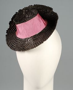 Doll hat (image 1) | House of Schiaparelli | French | fall 1938 | straw, silk | Brooklyn Museum Costume Collection at The Metropolitan Museum of Art | Accession Number: 2009.300.3928