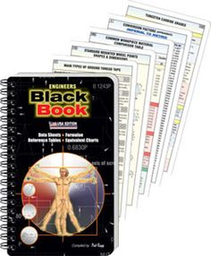 The Engineers Black Book is an indispensable tool for engineers and machinist. The Engineers Black Book contains comprehensive information and charts on threads, drills,, speeds and feeds, math formulas, equivalent charts, reference tables, data sheets, geometrical construction, G Codes, tapers, and much more useful information for engineers and machinist. The book includes a free aluminum drill point sharpening gage.