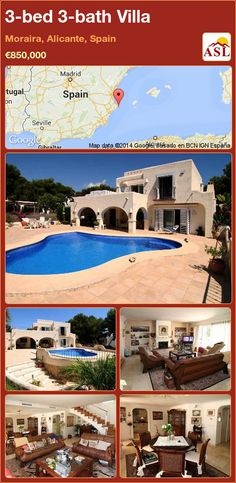 3-bed 3-bath Villa in Moraira, Alicante, Spain ►€850,000 #PropertyForSaleInSpain