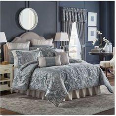 Croscill-Gabrijel-Chenille-Jacquard-Woven-Damask-4-piece-Queen-Comforter-Set