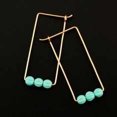 These handmade earrings are made just for you from your favorite metals! They feature 3 - 5mm Turquoise Czech Glass Textured Beads, all in a row,