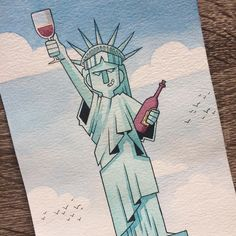 "68 lượt thích, 3 bình luận - Kasey Golden (@kaseythegolden) trên Instagram: ""Today's prompts ""wine bottle"" and ""Statue of Liberty"" became a trilogy! 1/3"""