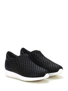 Andia Fora - Sneakers - Donna - Sneaker in pelle ad intarsi con rete under-leather e suola in gomma. Tacco 30, platform 15 con battuta 15. - NERO