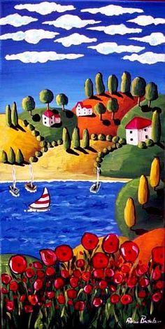 Tuscan Landscape Poppies Sailboats Whimsical Original Folk Art Painting. $129.00, via Etsy.