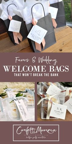 Wedding Favors and Welcome bags are your personal, signature way to thank your wedding guests for their love and support on your special day. Personalization options are endless for any wedding budget! Destination Wedding Welcome Bag, Wedding Welcome Bags, Wedding Wishes, Wedding Bells, Fall Wedding, Diy Wedding, Wedding Favors, Wedding Ideas, Budget Wedding