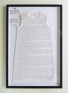 """Caren Garfen ~ """"Anna"""" (2015) cotton child-sized dress with human hair embroidery; stitched text from a diary of a young girl who is suffering from anorexia nervosa. via 2015 interview w Lexington Art League  