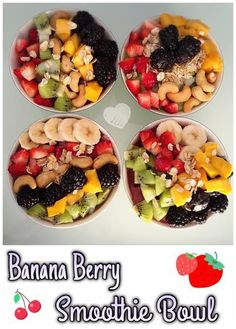 Banana Berry Smoothie Bowls | @fairyburger