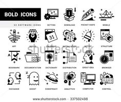Bold vector icons in a modern style. Linear elements with potting black. Software and System Preferences, Inserting and editing system files. - stock vector