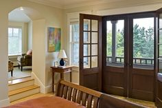 linen white Shingle style home in Hanover NH - traditional - Bedroom - Burlington - Smith & Vansant Architects PC Double Screen Doors, French Doors With Screens, Wooden Screen Door, Double Front Doors, Front Entry, Wooden Doors, Mesh Screen, Front Porch, Shingle Style Homes