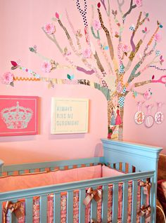 Project Nursery - decoupage tree using scrapbook paper and mod glue