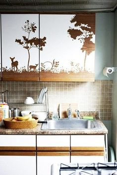 Cool kitchen cabinet design idea with contact paper.