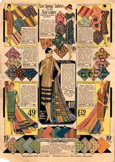 New Spring Fabrics in the New Colors - from Sharood Co. Style Show Catalog (Spring & Summer 1926) | The Midvale Cottage Post blog