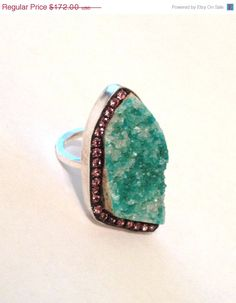 VSALE Sea green Chrysocolla druzy and rose by YaronaJewelryDesign, $154.80