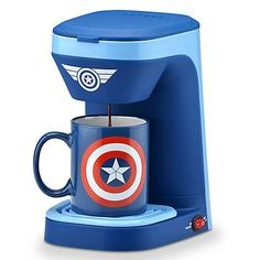 Marvel Captain America Coffee Maker with Mug Single serve coffee maker Illuminated on/off switch Removable drip tray Flip top lid 12 ounce mug and permanent filter included