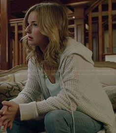 Emily's grey textured hoodie on Revenge.  Outfit Details: http://wornontv.net/37800/ #Revenge