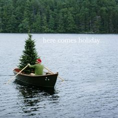 Christmas tree in a row boat....